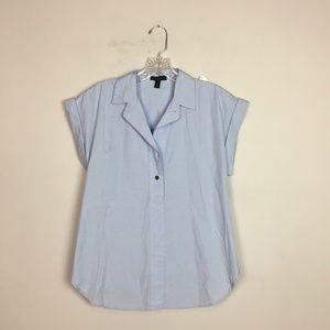 J. Crew popover blouse blue short sleeve size 6